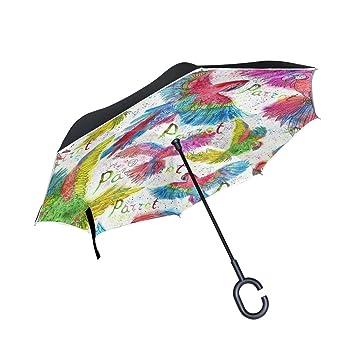 ALAZA La Prueba de Doble Capa Paraguas invertido Coches inversa Paraguas a Prueba de Viento Acuarela