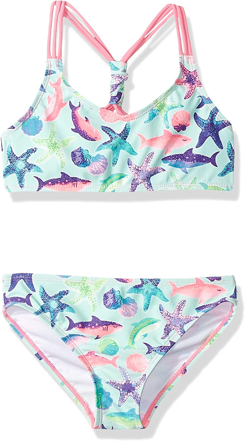 Rivstar Girls Big Bikini with Triple Strap Scrunch Top Sharkie Print 2pc