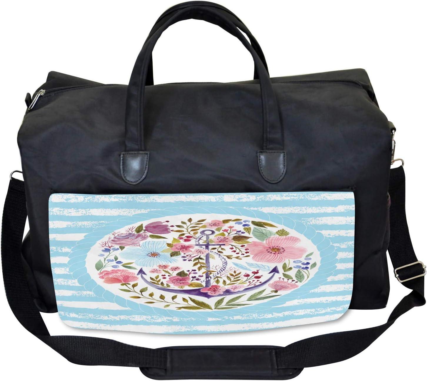 Large Weekender Carry-on Ambesonne Vintage Gym Bag Nautical Anchor Marine