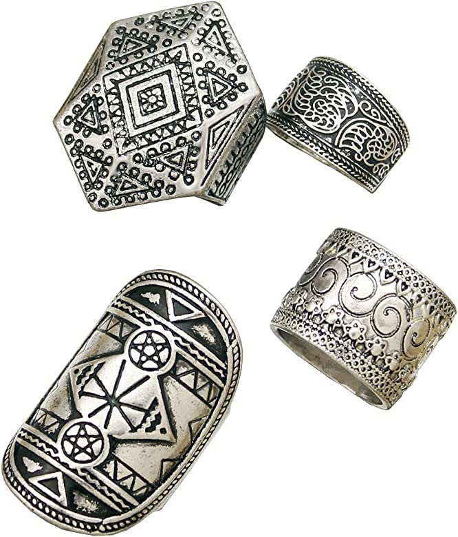 rechicgu Pack 4 Hombres Vintage plata tribal puntas de triángulo de Celtic Wicca Etched banda anillos: Amazon.es: Joyería