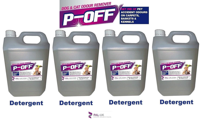 4x 5l P-off pour animal domestique d'urine odeur anti-odeurs–Wee les excréments Poo Cat Dog–Détergent PAL-UK