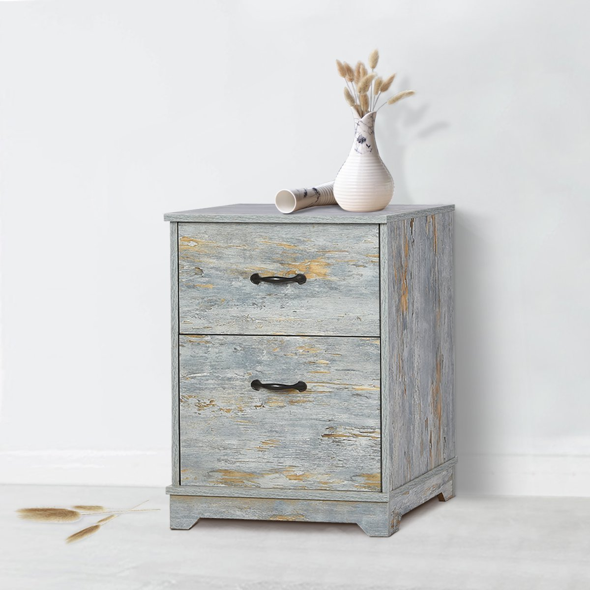 W-LIVE 2-Drawer Nightstand, Wood End/Accent Table,Blue Oak