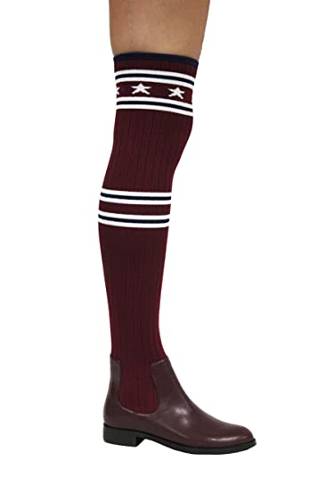 8cacca2a464c Amazon.com | CAPE ROBBIN Metis-1 Stars and Stripes Ribbed Knit Over-The-Knee  Fitted Boots | Over-the-Knee
