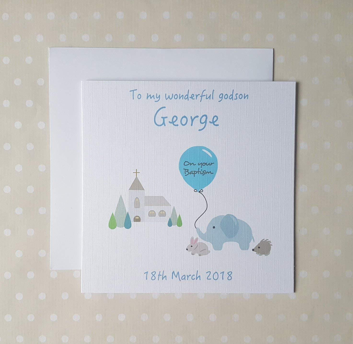 Baptism greeting card for Boys. Personalised Baby Boy Baptism Card for Son, grandson, Godson, Nephew, Brother, Baby Boy or Little Boy. Cute Baptism Card with Date. Free UK delivery.