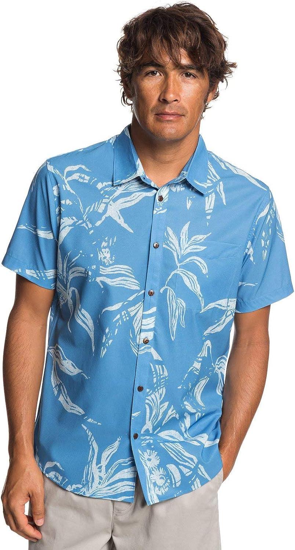 Azure Blue Quiksilver Mens Waterman Collection Centinela 4 Short Sleeve Shirt