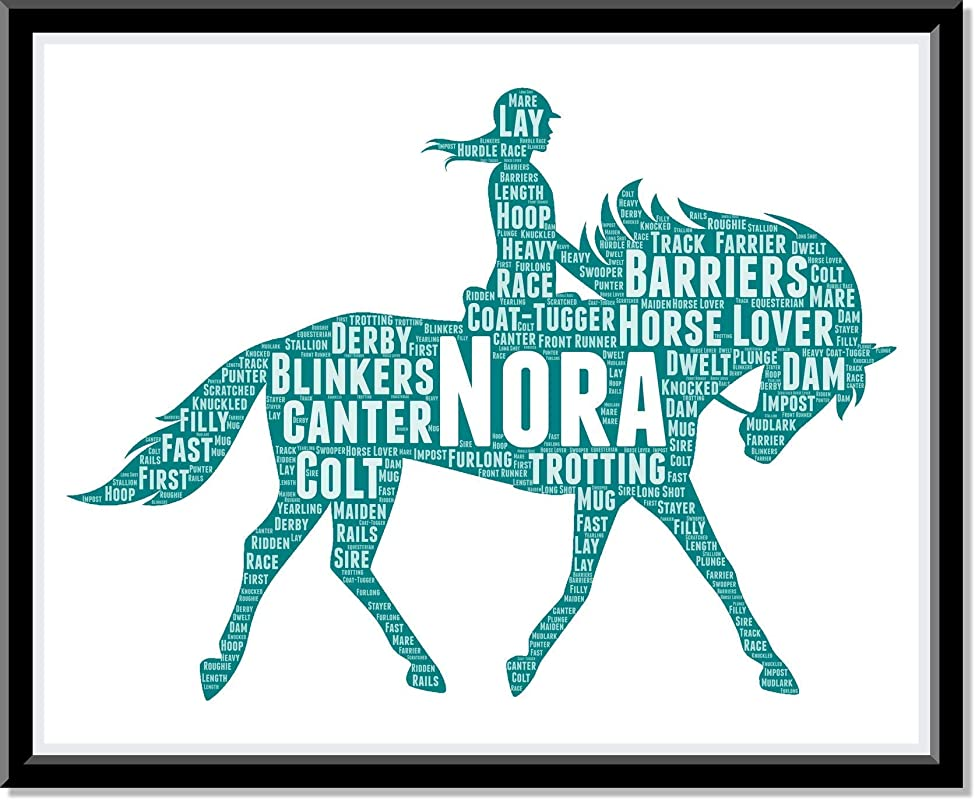 Personalized Gift for Horse Lover, Typography Prints and Word Art Horse Rider Birthday gifts for Girls and Owners of horses…