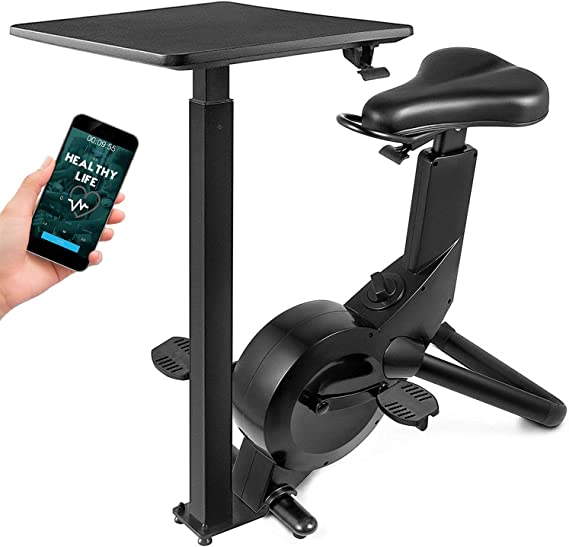Happibuy Indoor Cycling Bike Office Exercise Bike Height Adjustable Cycle Exercise Bike Adjust Resistance Easy Moving with App and Table