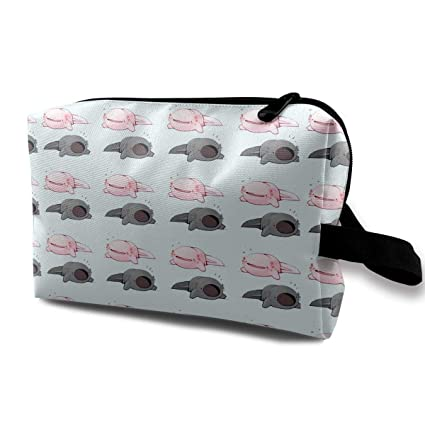 cf26b6d2d8f5 Amazon.com: Wqi Home Cosmetic Case Bag Pink and Black Axolotl Large ...