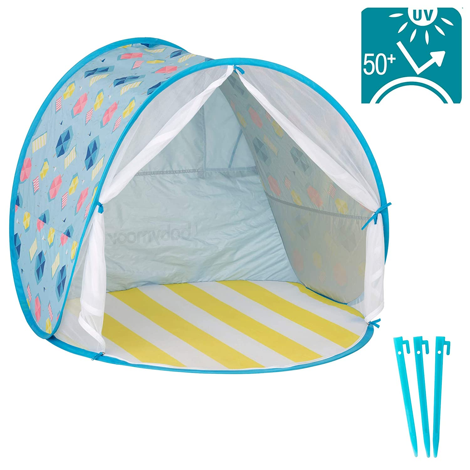 Easily Folds Into a Carrying Bag for Outdoors /& Beach Babymoov Anti-UV Tent Pop Up Sun Shelter for Toddlers and Children UPF 50