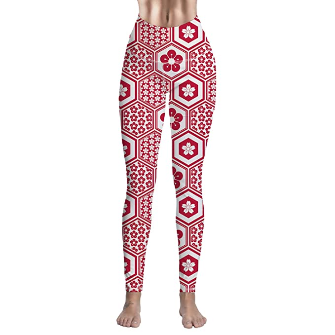 57b34489fe8455 Amazon.com: Women Yoga Pants High Waist Sport Workout Running Soft Printed  Leggings - Red Polygonal Flower Pattern: Clothing