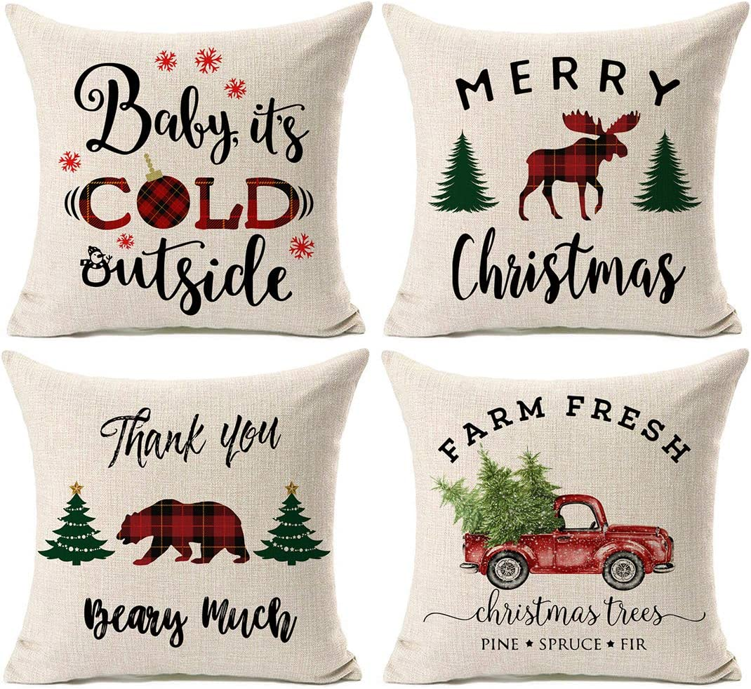 Kithomer Christmas Plaid Throw Pillow Cover Christmas Quote Pillow Case Cotton Linen Farmhouse Decor 18 x 18 Inch