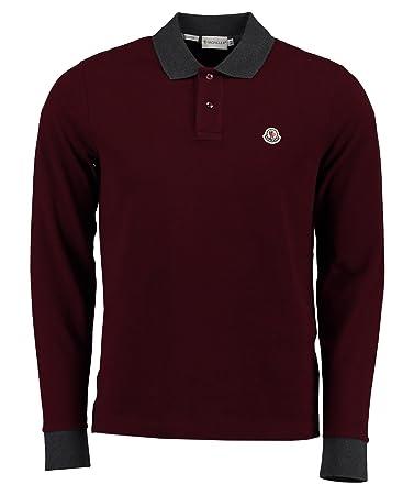 Langarm Bordeaux Sport Herren Poloshirt L Moncler qft4Exw6