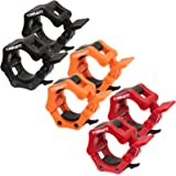 MiraFit Pair of 50mm Olympic Weight Bar Clamp Collars - Black, Orange or Red
