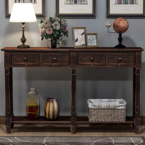 Console Tables for Entryway, Norcia 58 Wide Rustic Hallway Table, Sofa Tables Narrow Long with Storage for Living Room Espresso