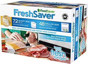FoodSaver FreshSaver Zipper Bag Combo Pack 72 Quart-Size and 48 Gallon-Size by FoodSaver