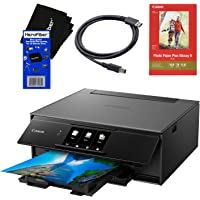 Canon Pixma TS9120 Wireless Inkjet All-in one Printer (Gray) with Scan, Copy, Mobile Printing, Airprint & Google Cloud + Set of Ink Tanks + Photo Paper Sample + USB Printer Cable + HeroFiber Cloth