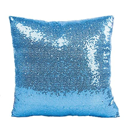 Sky Blue Solid Color Glitter Sequins Throw Pillow Case Cafe Home