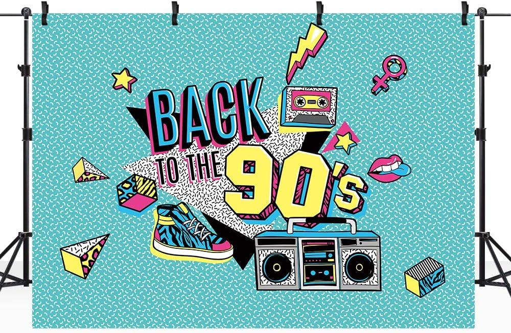 Riyidecor 90s Backdrop Hip Hop Graffiti Fashion Shoes 90th Themed Retro Party Birthday Photography Background Adults Mint Green Radio 7x5 Feet Decoration Celebration Party Photo Shoot Vinyl Cloth
