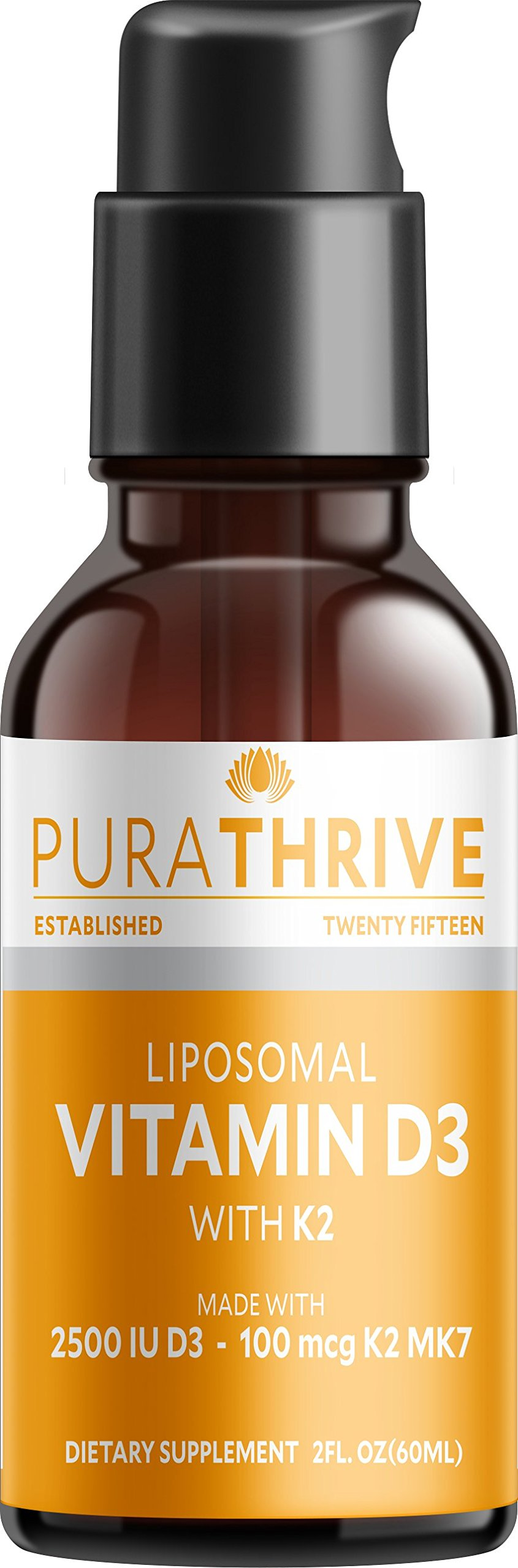 PuraTHRIVE Liquid Vitamin D3 with K2. High Absorption with True Liposomal Delivery. 2oz. (60ml). GMO Free, Gluten Free, Made in USA. D3 Provides D3 2500iu with K2 100 mcg MK-7. by PURATHRIVE