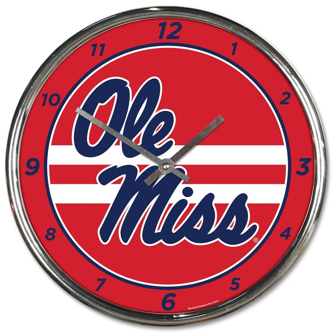 Wincraft University of Mississippi Ole Miss Rebels 12 inch Round Wall Clock Chrome Plated by WinCraft