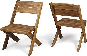Christopher Knight Home Estelle Indoor Farmhouse Acacia Wood Chairs (Set of 2), Sandblast Teak Finish