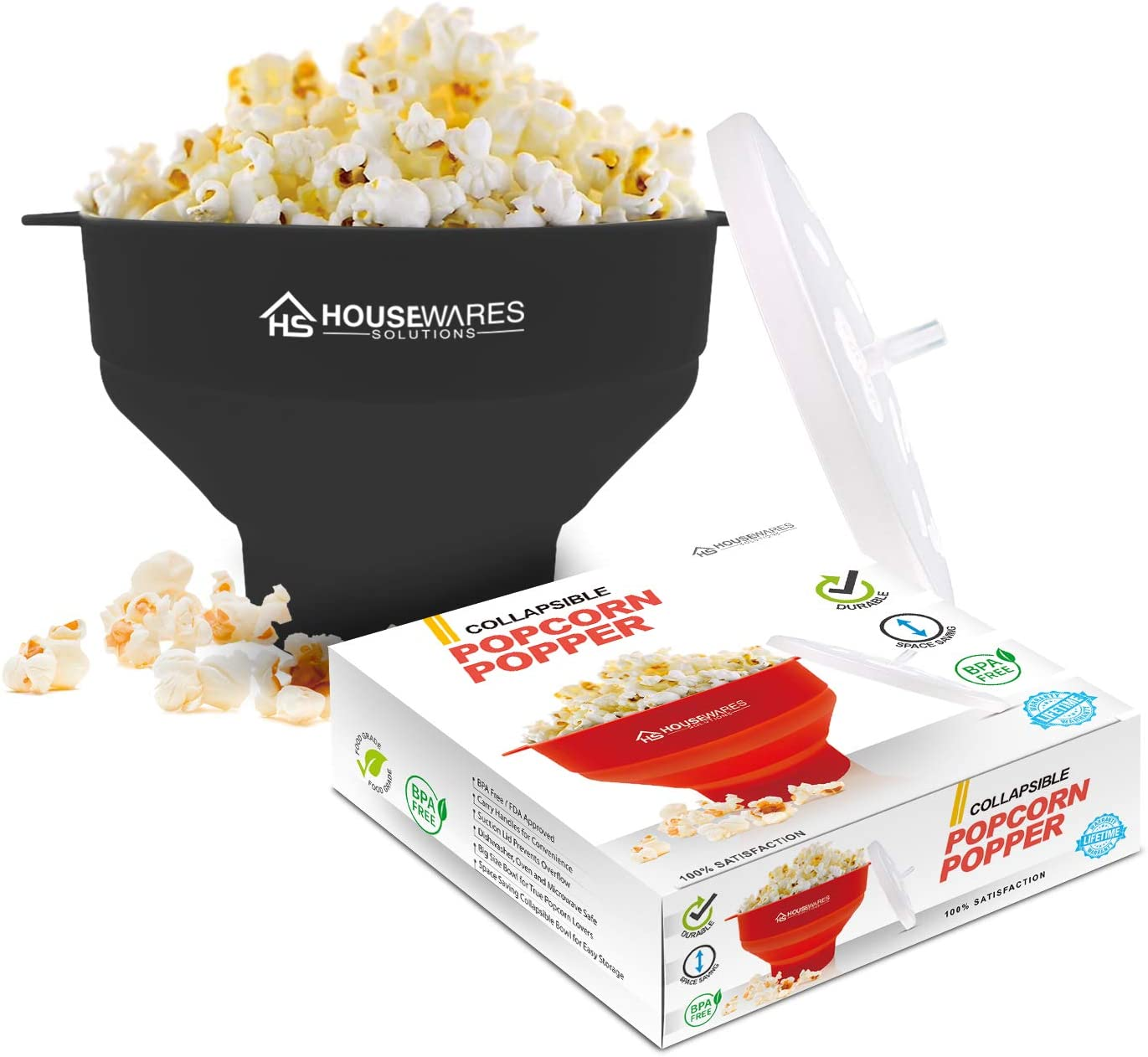 Collapsible Silicone Microwave Hot Air Popcorn Popper Bowl With Lid and Handles - Black