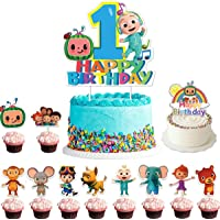 Cocomelon Birthday Cake Topper Set 1st 2nd Second Birthday Cake Cupcake Toppers Decoration for JJ Melon Theme Party…