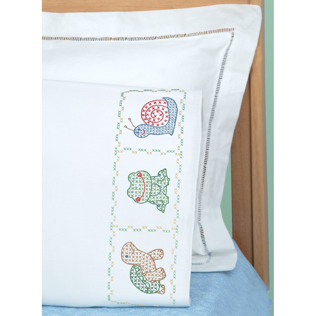 Jack Dempsey Children's Stamped Pillowcase With White Perle Edge 1/Pkg-Froggy Notions - In Network 050993 PA-JDN1605.451