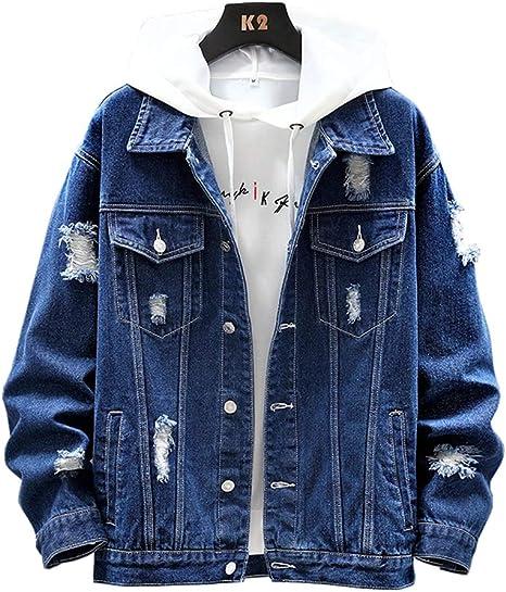 D.IIZOO 春秋 ダメージ加工 デニムジャケット メンズ ゆったり ブルゾン カジュアル 韓国 ファッション 黒 青 大きいサイズ