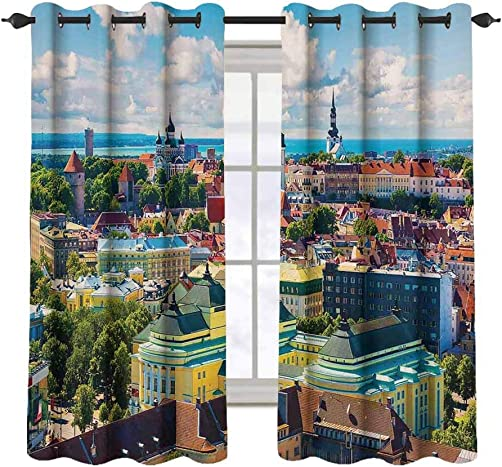 Cityscape 2 pcs 52×36 Blackout Drapes,Scenic Old Town Tallinn Estonia Ancient European Cathedral Architecture Home Decor Grommet Top Window Treatment Blackout Panel Curtain for Small Window,Multi