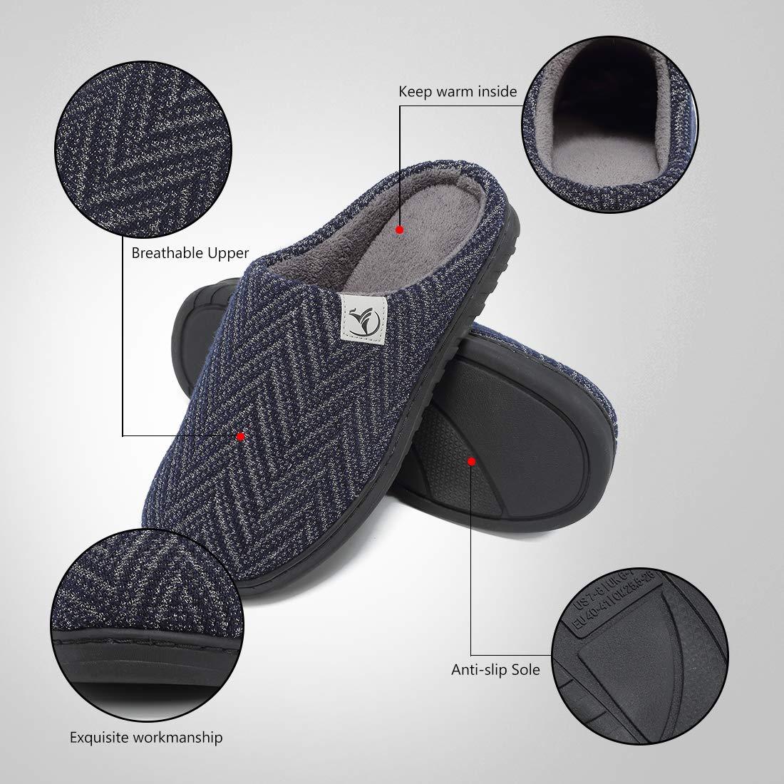 Deevike Hommes Chaussons Pantoufles Maison Gar/çon Adult Chaussons en Coton Peluche dhiver Chaud Chaussures Anti-Slip Confortable Pantoufles