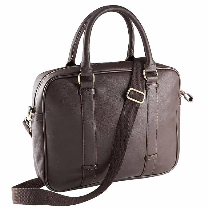 Portadocumentos, maletín para ordenador portátil piel sintética-KIMOOD, marrón (Marrón) - KI0918: Amazon.es: Equipaje
