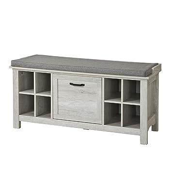 SoBuy® FSR38 W, Hallway Storage Bench, Shoe Cabinet Shoe Rack With 8