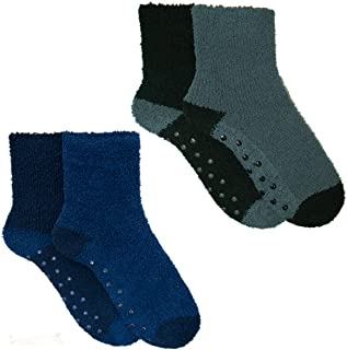 4 Pairs Mens Boys Cosy Socks Slipper Bed Super Soft Fluffy Fleece Warm Thermal Non Slip, UK 7-11, Black / Navy