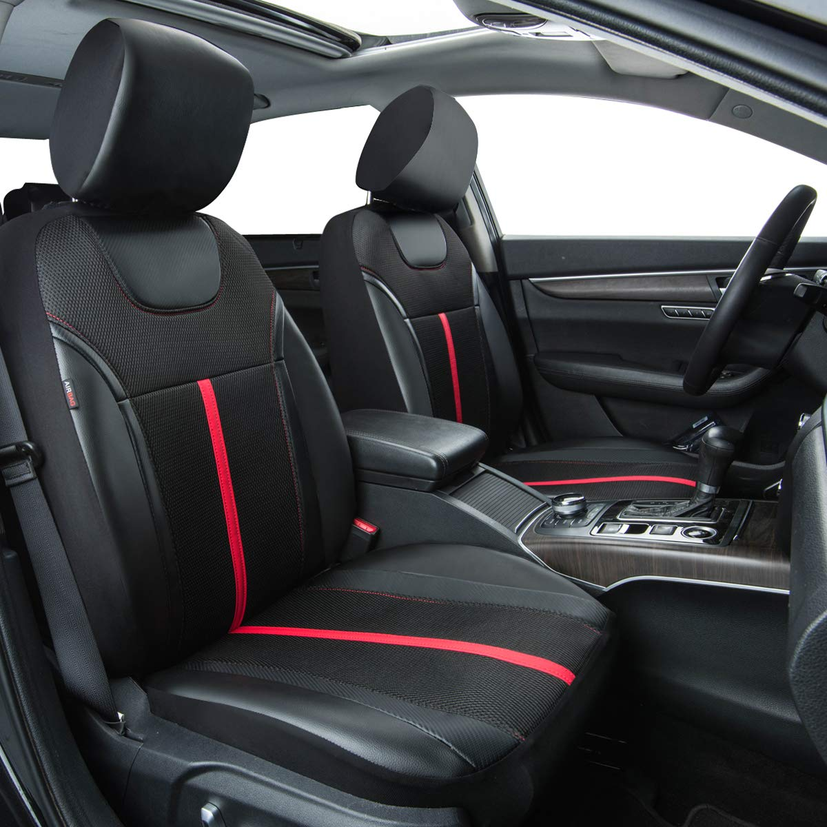 Black and Red CAR PASS Sporty Leather Universal Car Seat Cover with Zipper Design,Fit for Suvs,Vans,Sedans,Trucks,Airbag Compatible