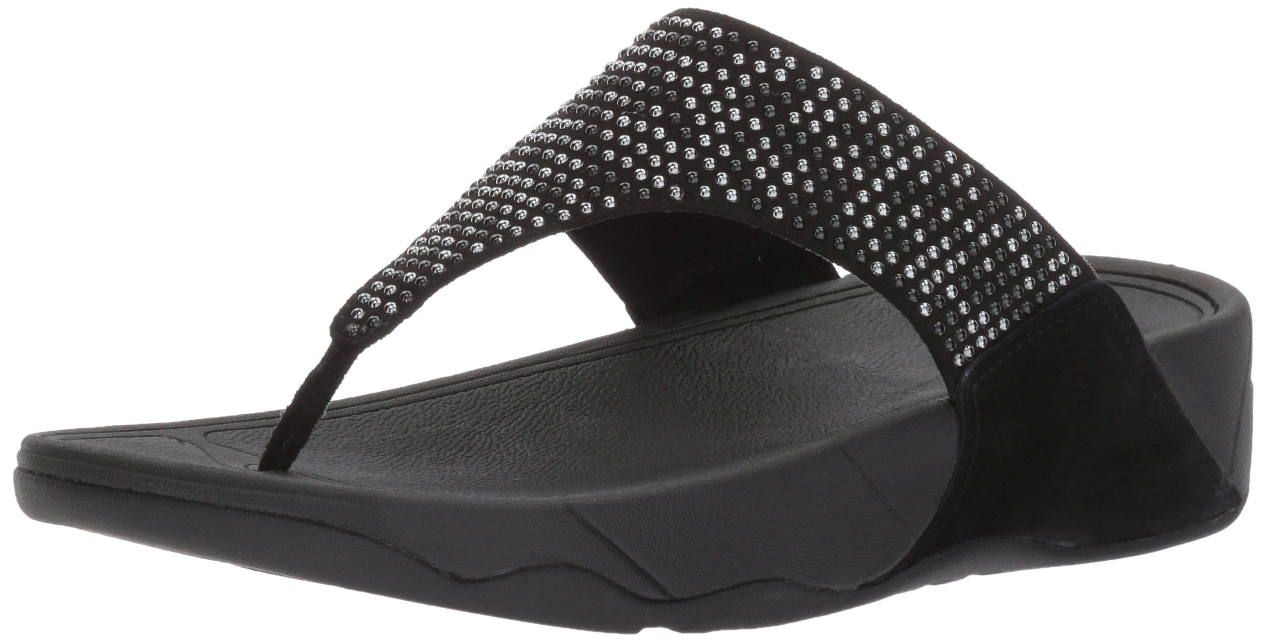 FitFlop Women's Lulu Popstud Flip Flop, Black, 9 M US by FitFlop
