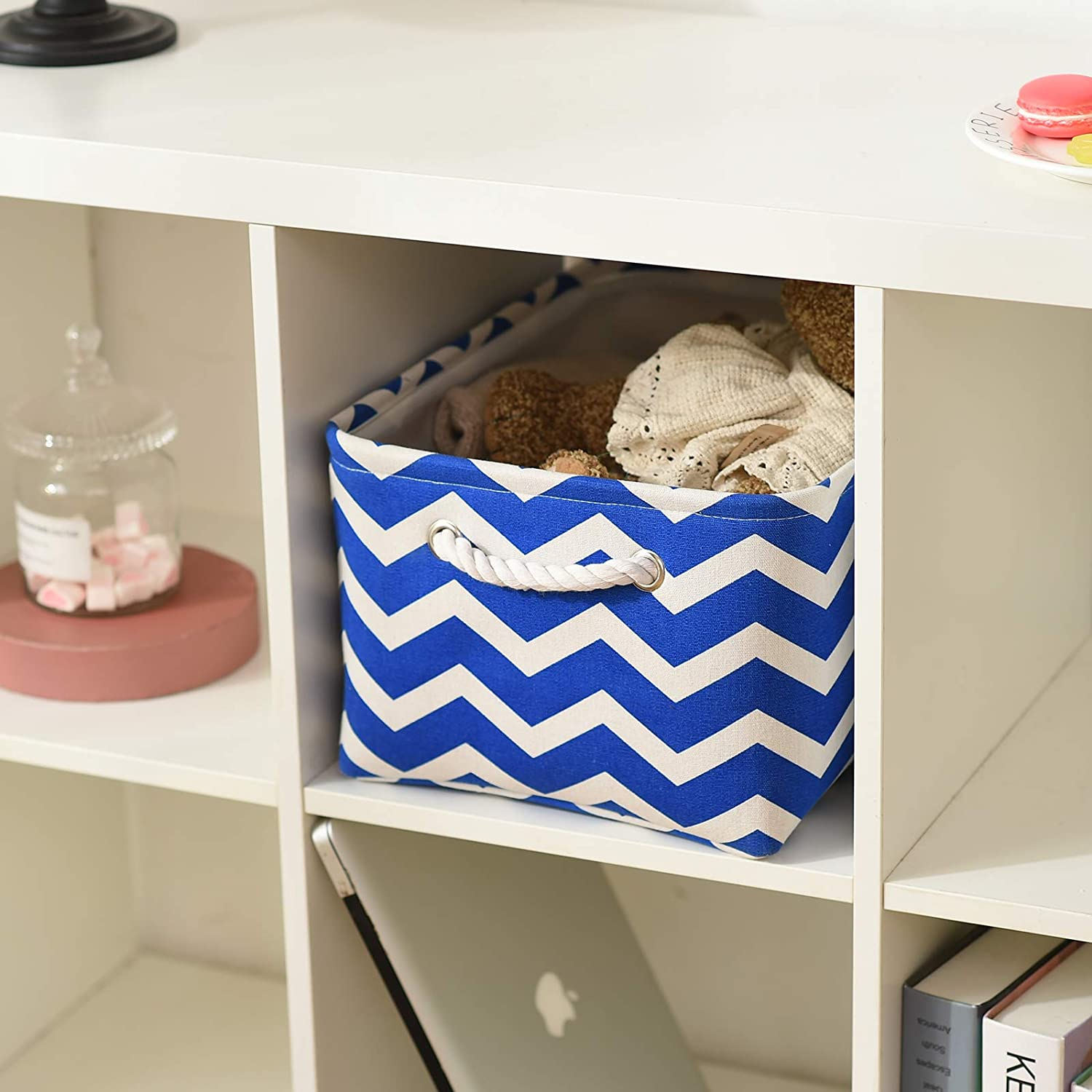 TcaFmac Collapsible Fabric Storage Basket Foldable Storage Boxes Cubes for Shelf Nursery Home Sturdy Storage Bins Organizer with Handles for Clothes and Toy Storage Blue Wavy Stripes, 16x12x8inch