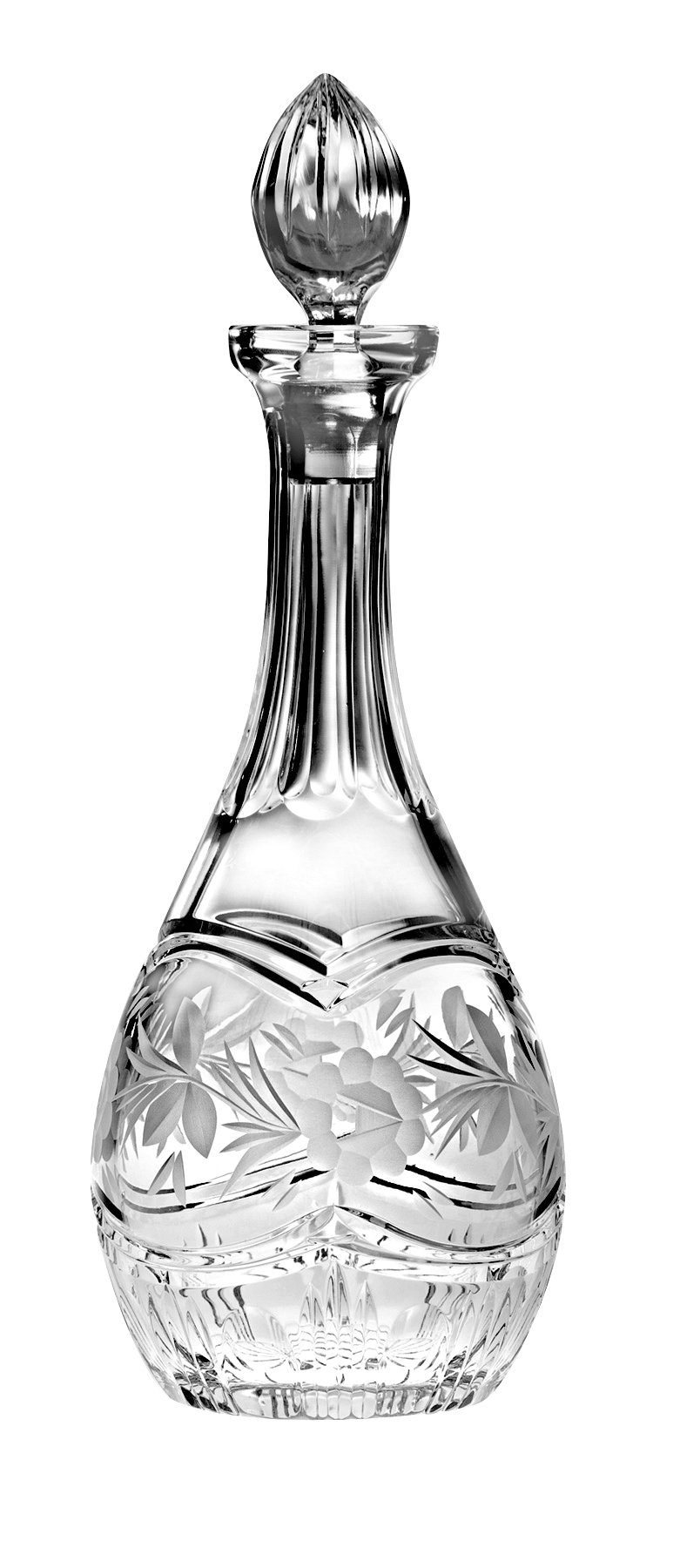 Barski - Hand Cut - Mouth Blown - Crystal - Wine Decanter - with Handle - With Rose Design - 38 oz. - Made in Europe