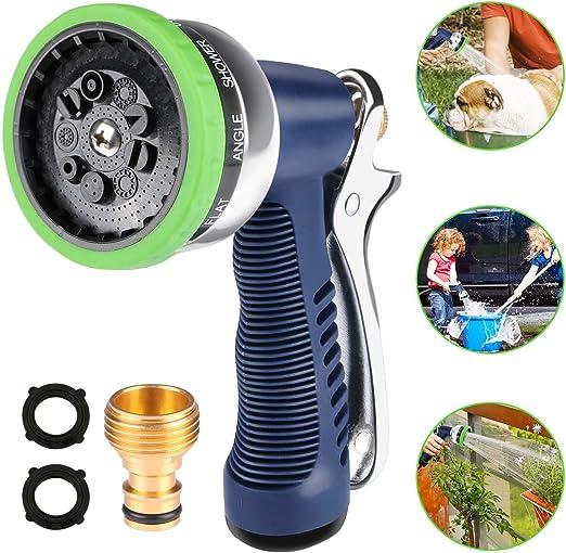 Aiglam Pistola de Riego, Pistola de Agua de Jardín, Boquilla Metálica, 9 Modos, para regar Césped, Lavado de Autos, Baño de Mascotas: Amazon.es: Jardín