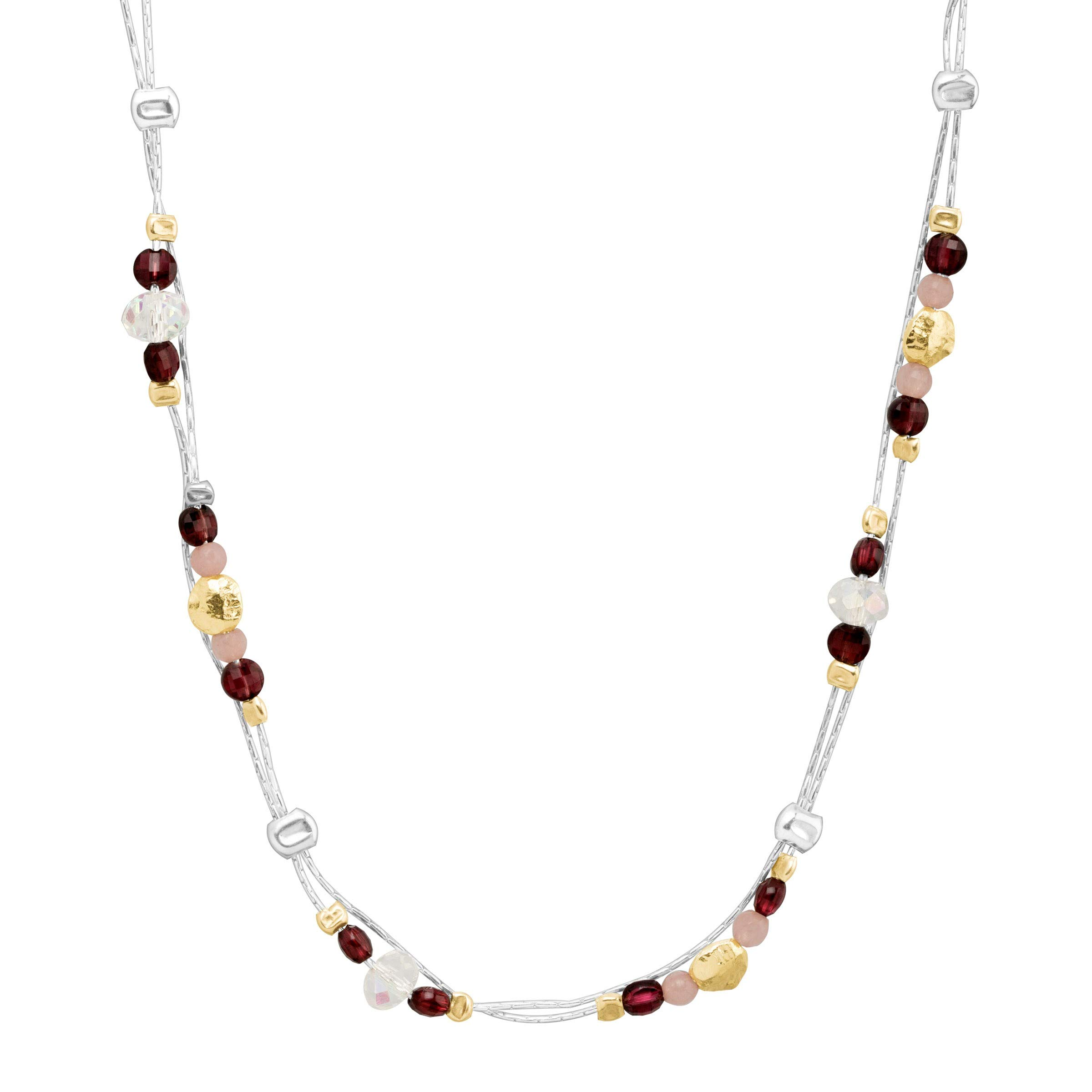 Silpada 'Sunrise and Shine' Natural Garnet, Pink Jade, Crystal Necklace in Sterling Silver & 14K Gold Plate