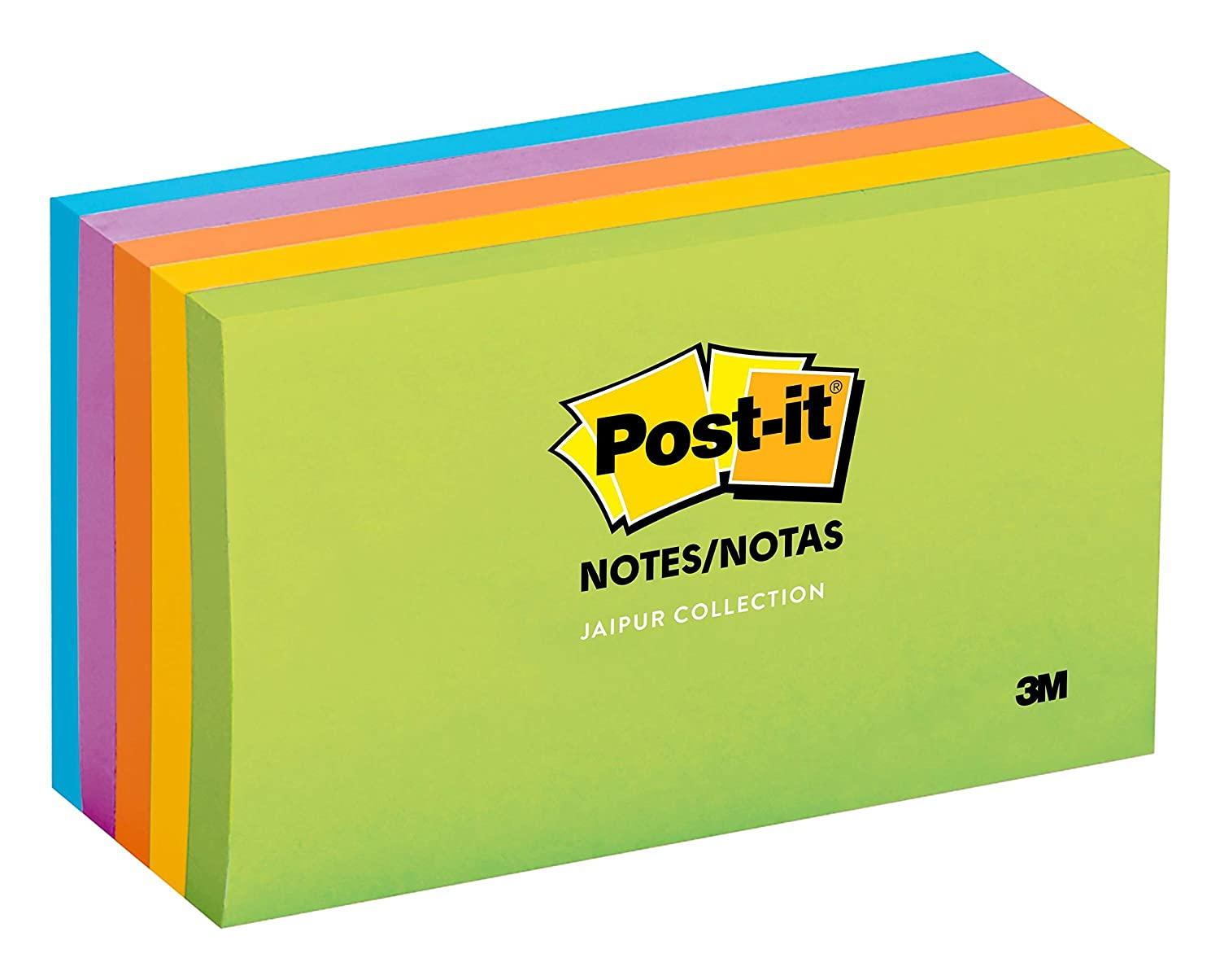Post-it Notes, Jaipur Colors, America's #1 Favorite Sticky Note, Recyclable, 3 in. x 5 in, 5 Pads/Pack, 100 Sheets/Pad (655-5UC)