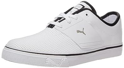 PUMA Men's El Ace Leather Sneaker, White/Black/Metallic silver, 4 US
