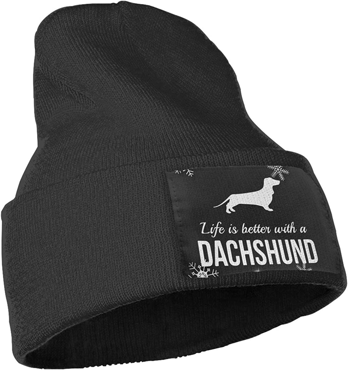 Life is Better with Dachshund Ski Cap Men /& Women Knitting Hats Stretchy /& Soft Beanie