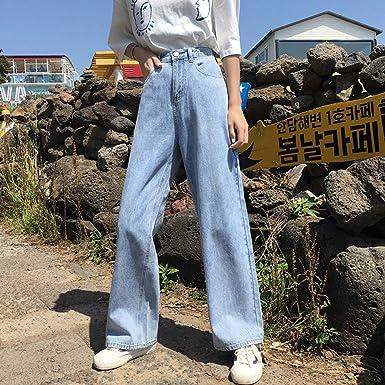 Pantalones Anchos Caidos De Cintura Alta Para Mujer Holgados Rectos Finos Delgados Arrastrando El Viento Jeans Viejos Azul Claro 28 Amazon Es Ropa Y Accesorios