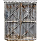 LB Rustic Wood Plank Barn Door Shower Curtain For Bathroom By Texas Western Country Theme