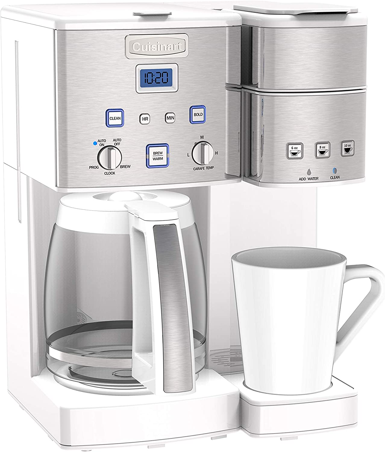 Cuisinart SS-15W Maker Coffee Center 12-Cup Coffeemaker and Single-Serve Brewer, White Stainless Steel
