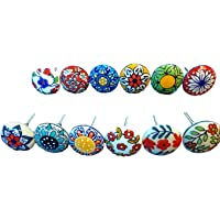 12 x Mix Vintage Look Flower Ceramic Knobs Door Handle Cabinet Drawer Cupboard Pull 001
