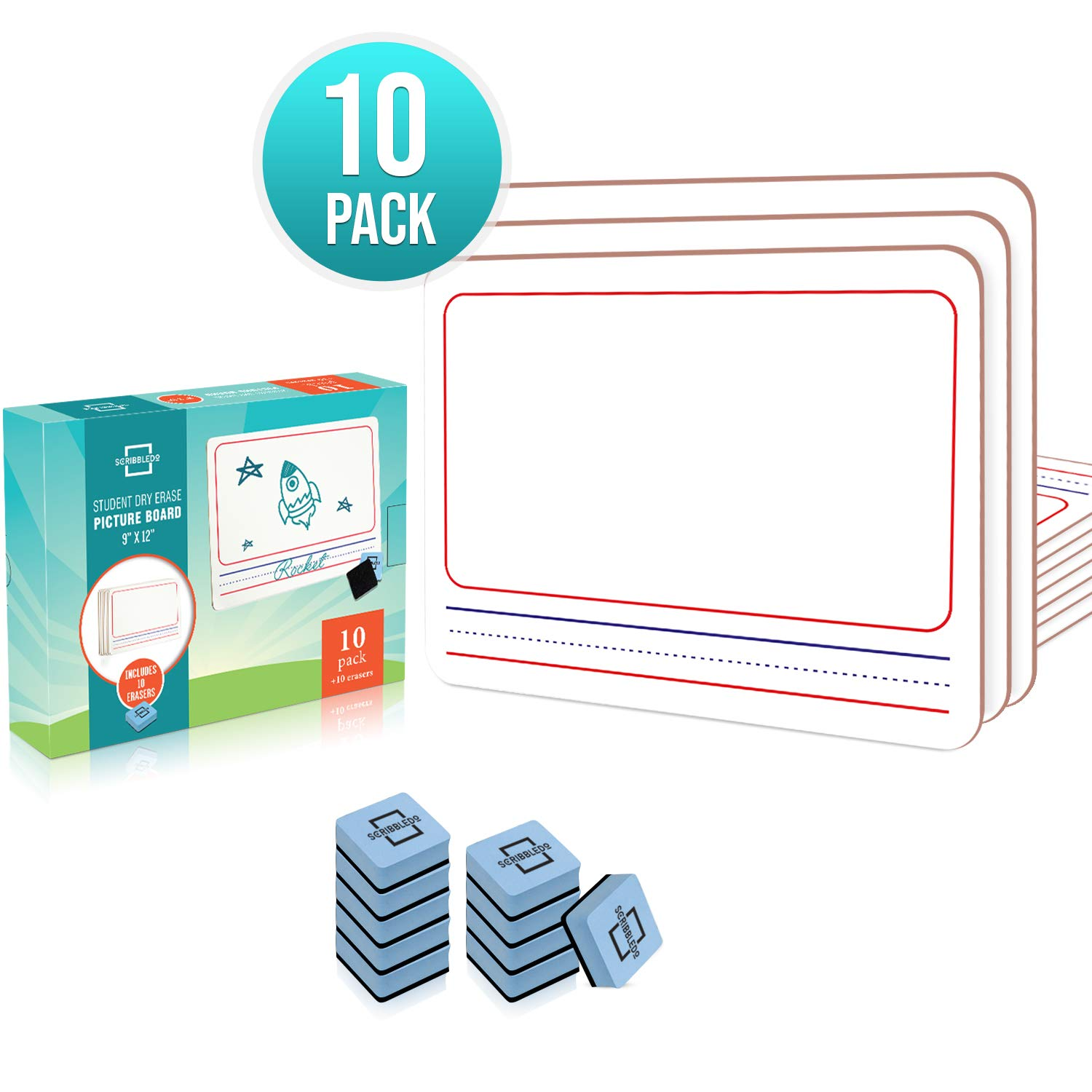 10 Pack Dry Erase Picture Story Boards for Student Drawing Lap Whiteboards, Erasers Included 9X12 inch Lined Double Sided White Boards
