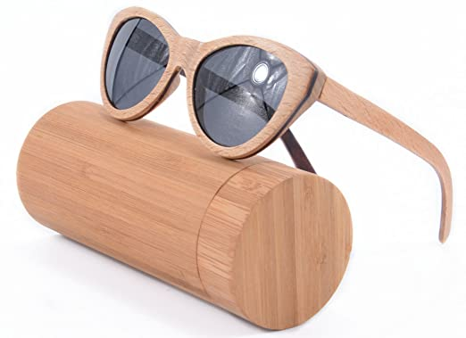 cat eye sunglasses for women wooden sunglasses polished 3layers wood frame sunglasses with case tu18 - Wood Frame Glasses