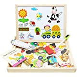 Lewo Wooden Kids Toys Magnetic Easel Double Side Dry Erase Board Puzzles Games for Boys Girls